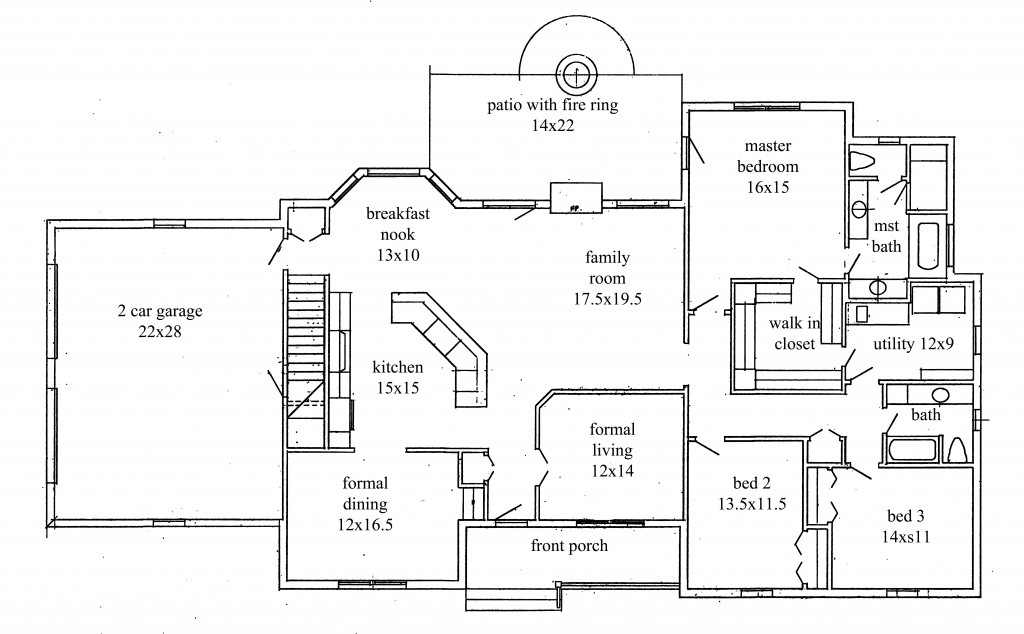 House plans new construction home floor plan for 2 bedroom 2 bath ranch floor plans