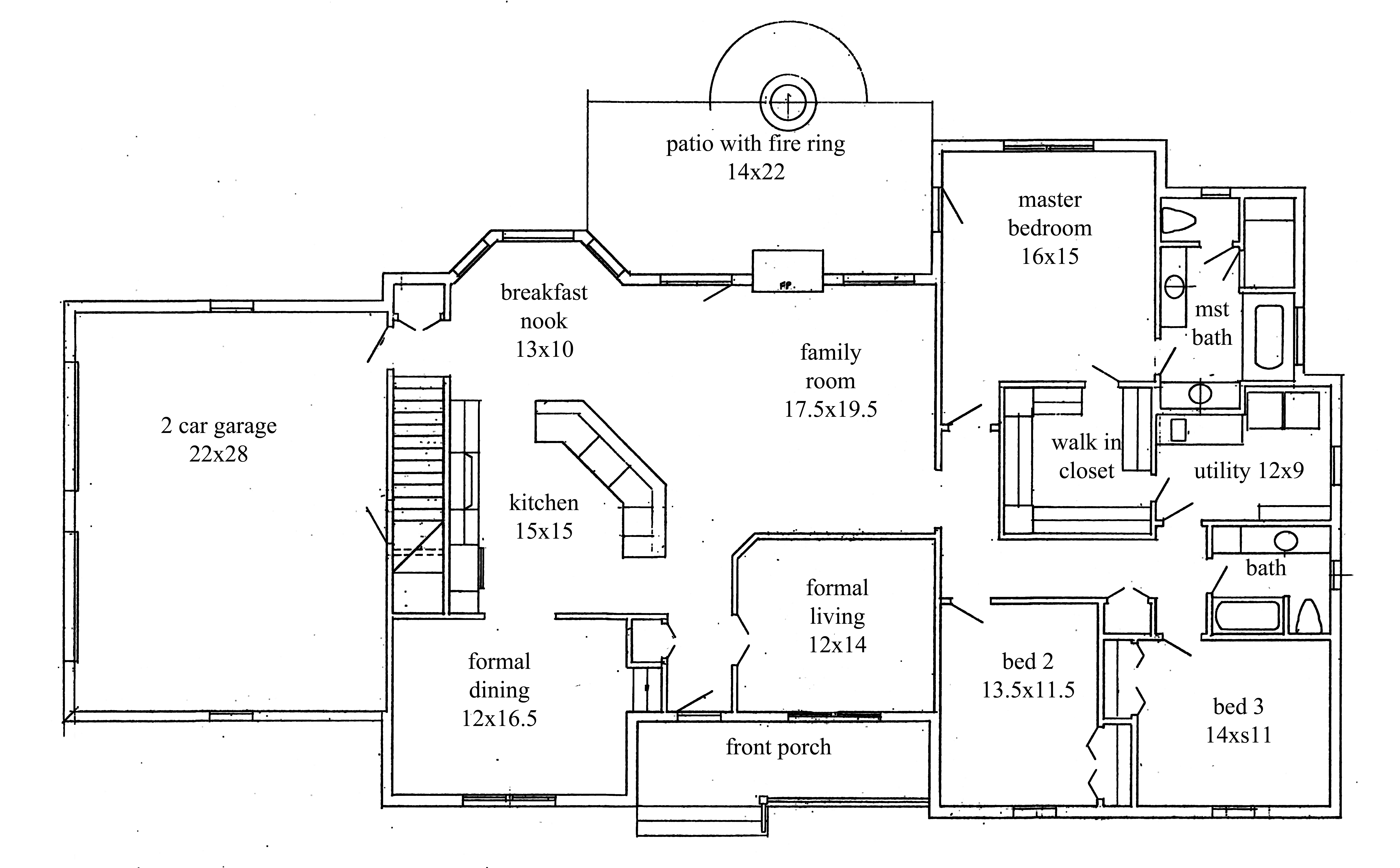 House plans new construction home floor plan for 2 bedroom ranch house floor plans